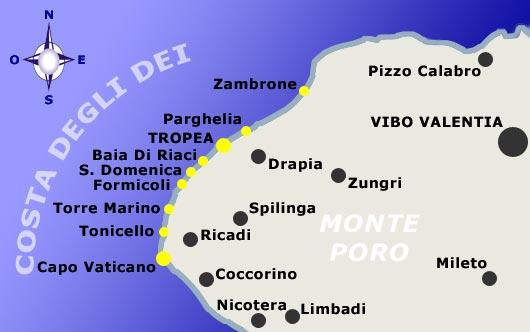 Mappa della Costa degli Dei