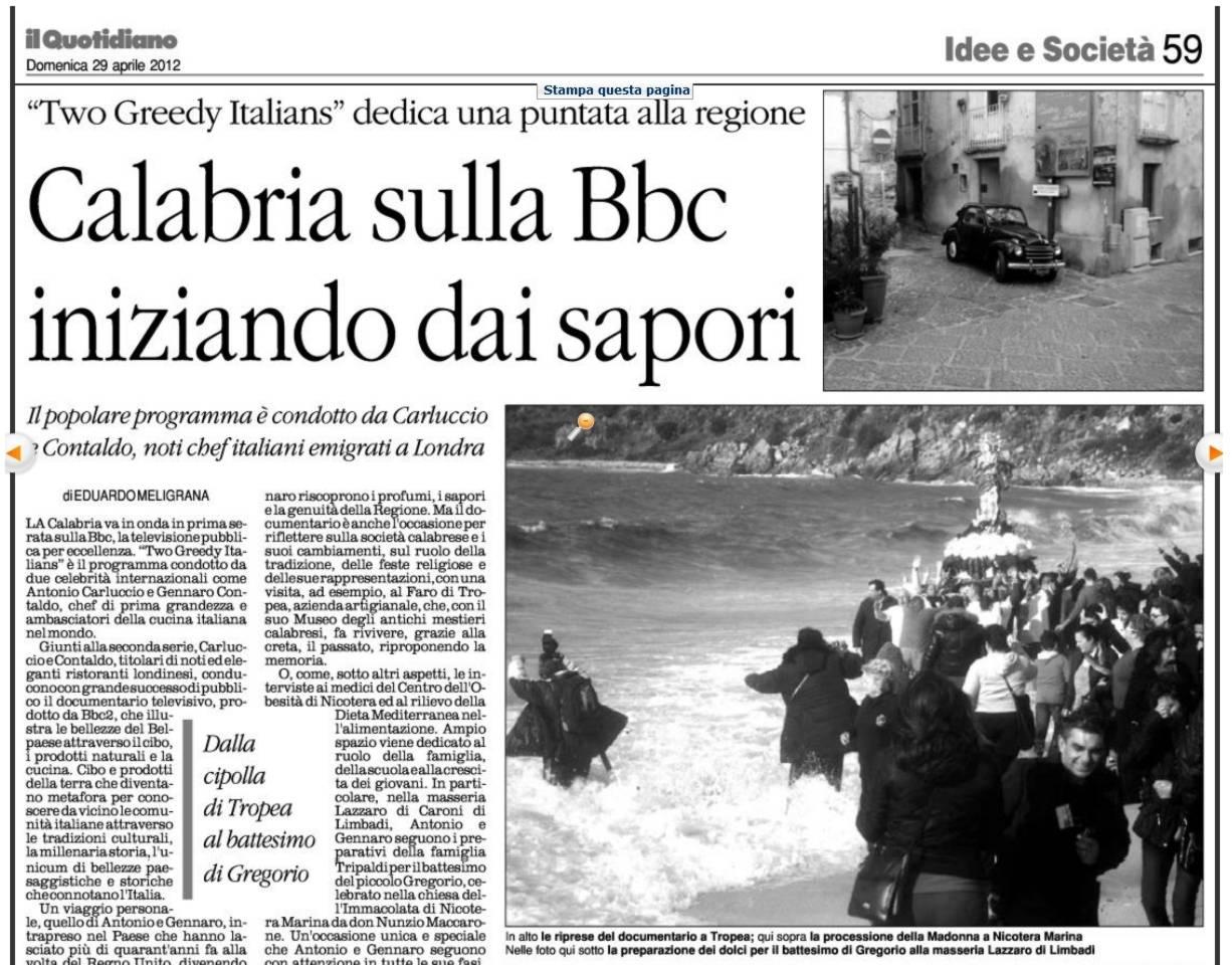 Articolo sulla BBC in Calabria